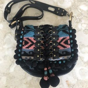 Isabella Fiore Leather & Knitted Large Cross Body